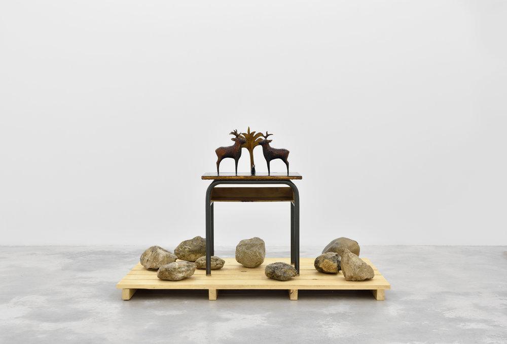 Desert Storm, 2015 wood, stones, school desk 120 x 80 x 100 cm - 47 1/4 x 31 1/2 x 39 3/8 inches