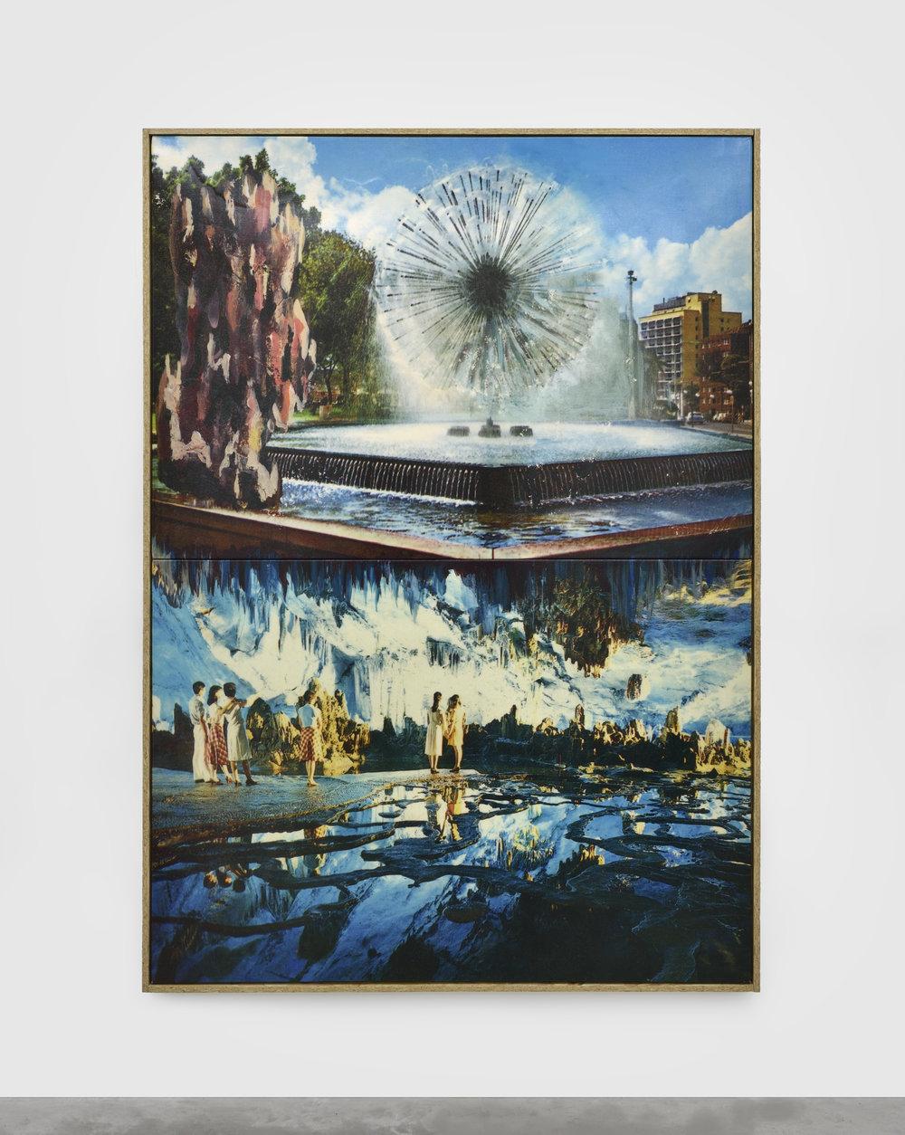La vision , 2016 print on canvas, resin, glitter 176 x 234 cm - 69 9/32 x 92 1/8 in