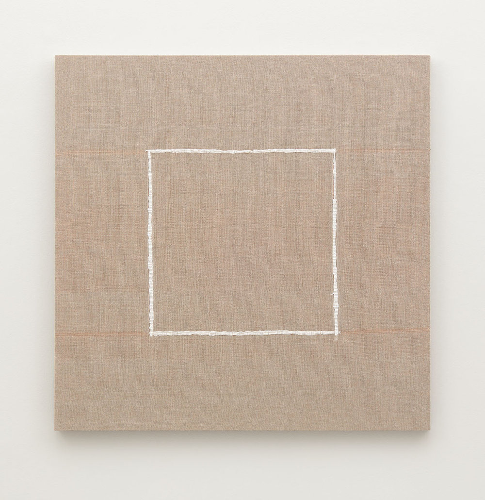 Woven Square Outline (White) #1 , 2017  Woven acrylic paint through linen canvas on panel  40 x 40 x 2 1/8 in - 101,6 x 101,6 x 5,4 cm