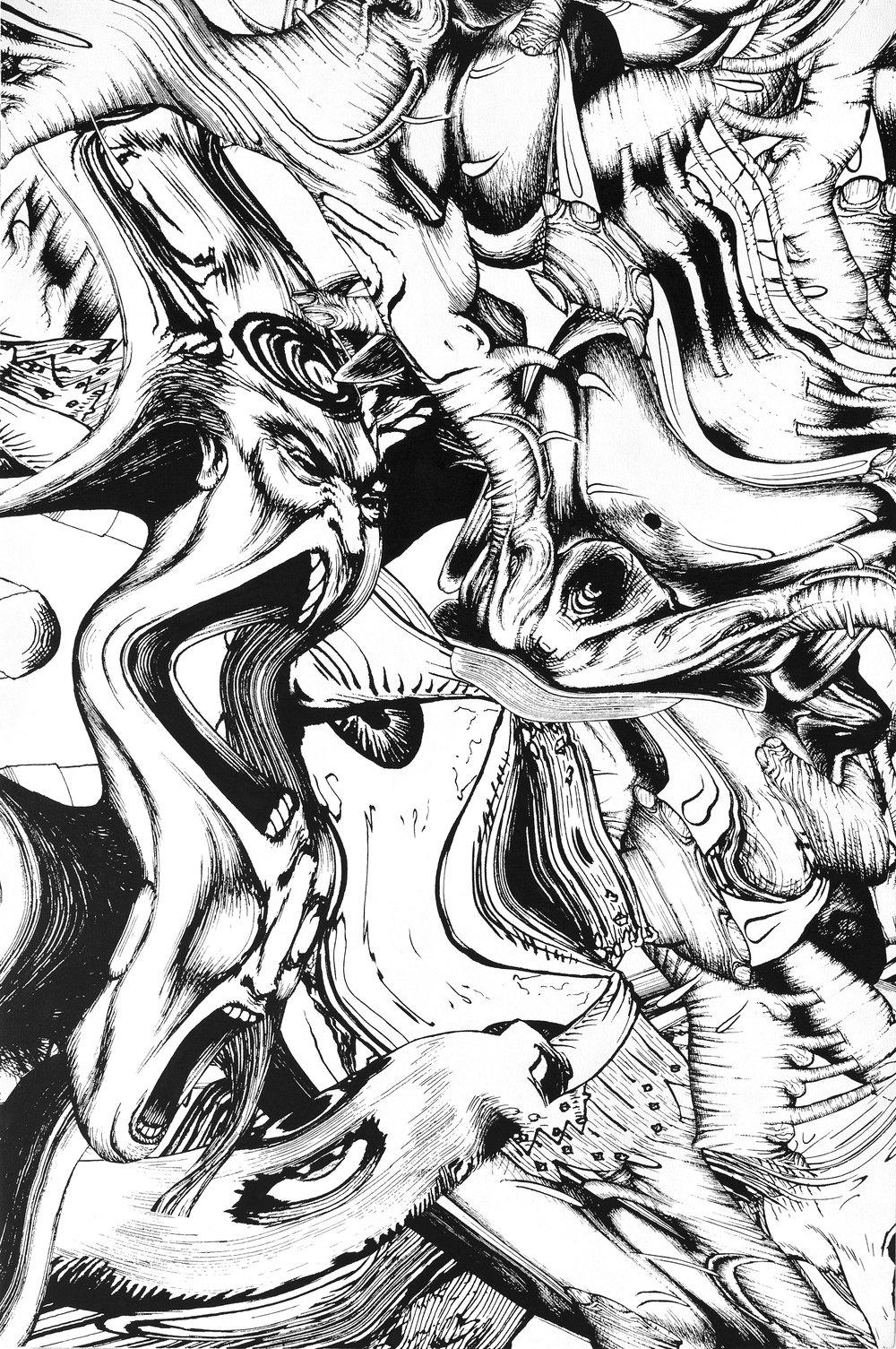 Chaos (Paris 2), 2017 silkscreen on canvas 59 1/2 x 39 1/2 in - 151,1 x 100,3 cm