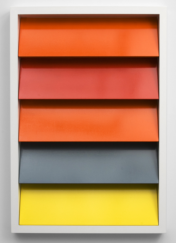 Shutter-Shutter Painting #1 (RAL 2004, 3020, 2004, 7000, 1018) , 2009 aluminum powder coated, lacquer on aluminum, stainless steel screws 145 x 100 x 10 cm - 57 x 39 3/8 x 4 inches