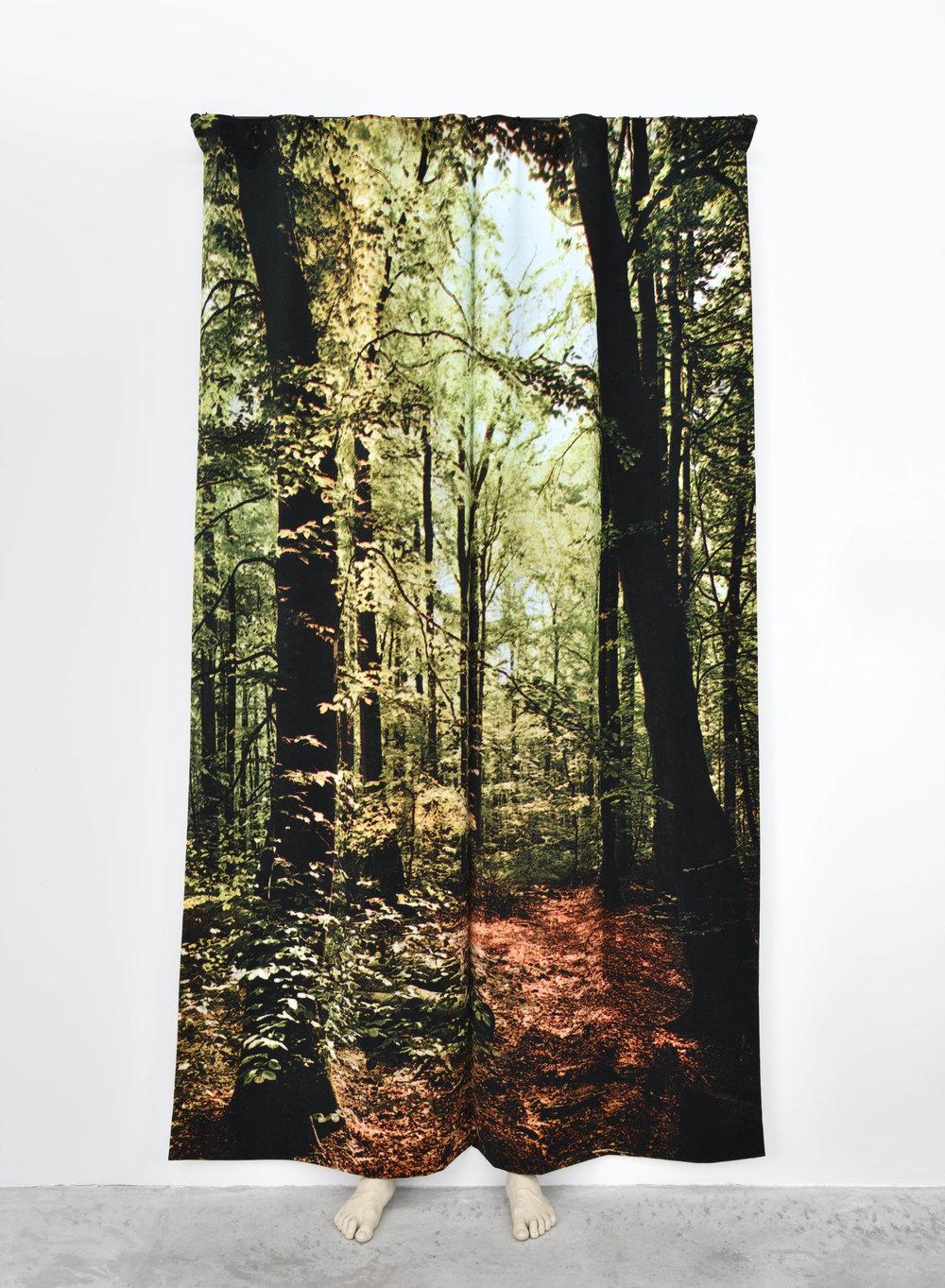 Pierre Ardouvin  La nuit n'est pas finie (forêt) , 2018 print on velvet, rod, fasteners, resin molding 100 13/32 x 47 1/4 x 15 3/4 in (255 x 120 x 40 cm)