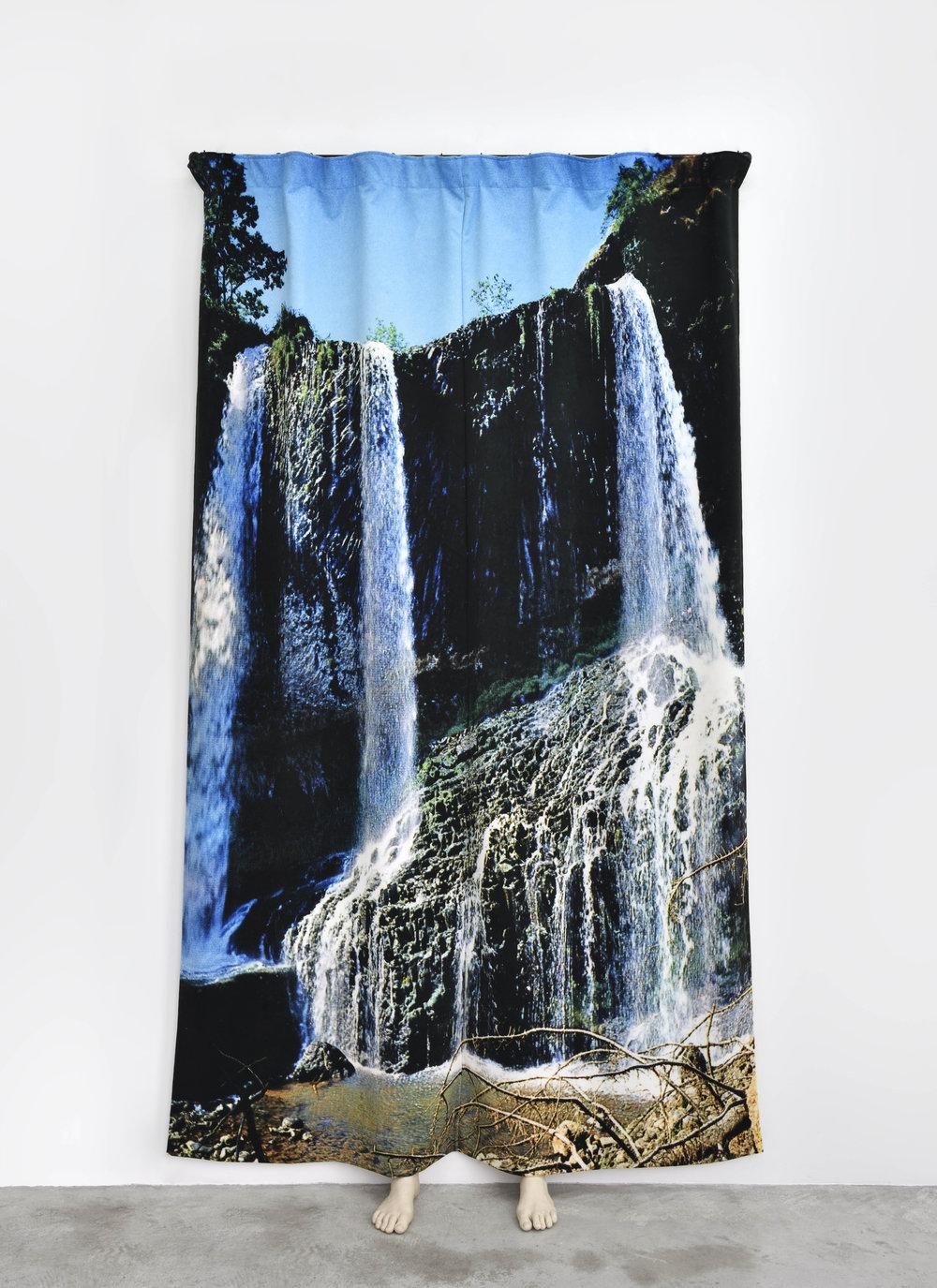 Pierre Ardouvin  La nuit n'est pas finie (cascade) , 2018 print on velvet, rod, fasteners, resin molding 100 13/32 x 47 1/4 x 15 3/4 in (255 x 120 x 40 cm)