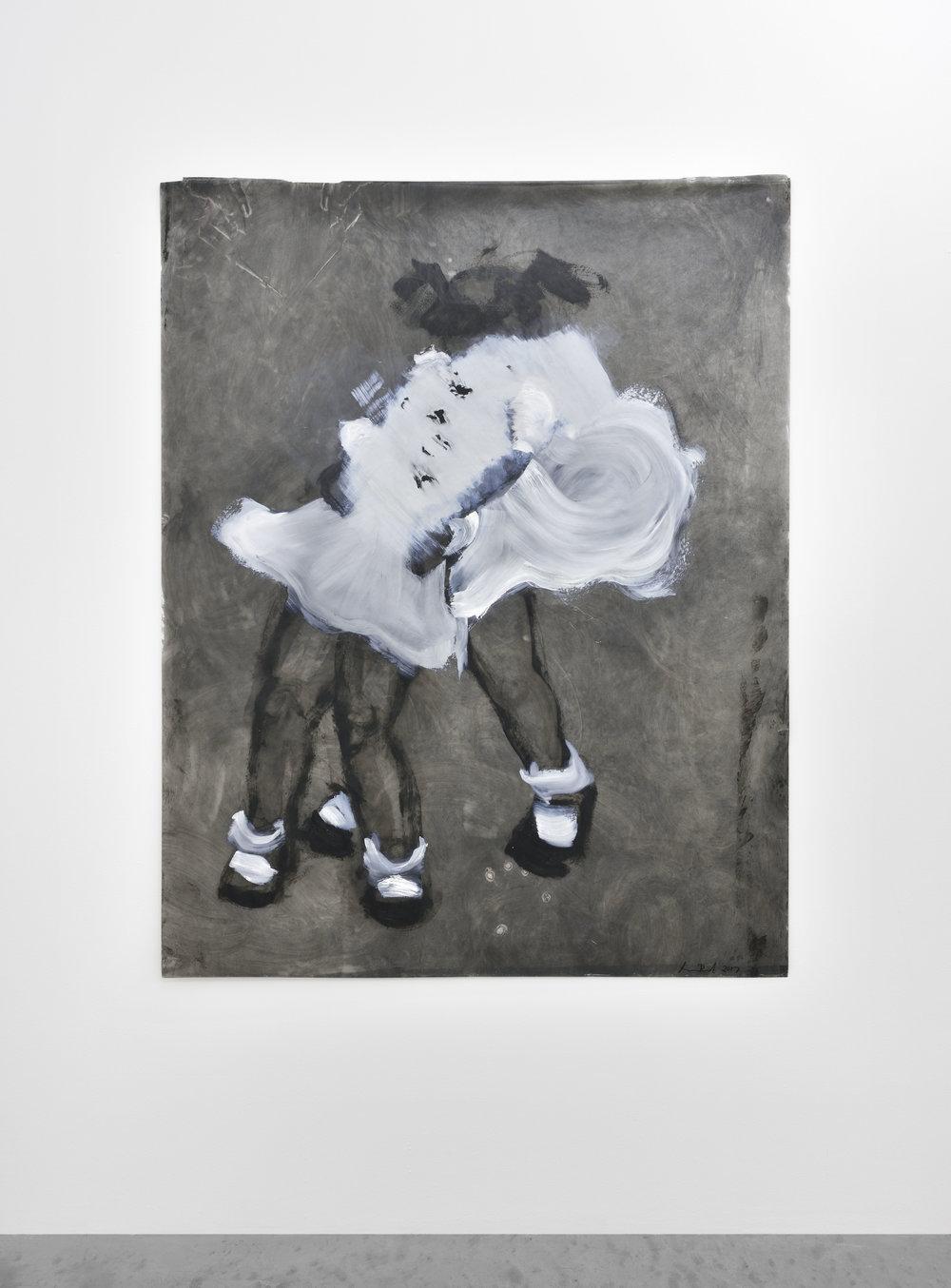 Kim DINGLE Girl in Chokehold, 2017 oil on glassine 60 x 48 in (152,4 x 121,9 cm)