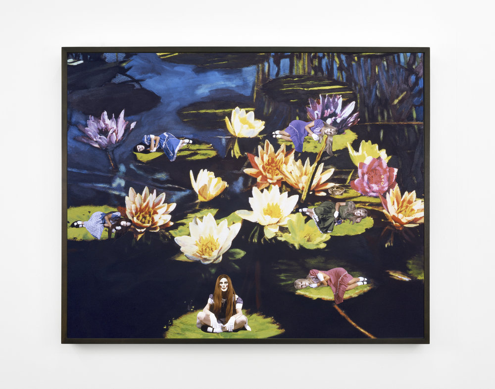 Marnie Weber The Lily Pond, 2008 collage on archival pigment print mounted on Sintra 40 15/16 x 50 25/32 in (104 x 129 cm)