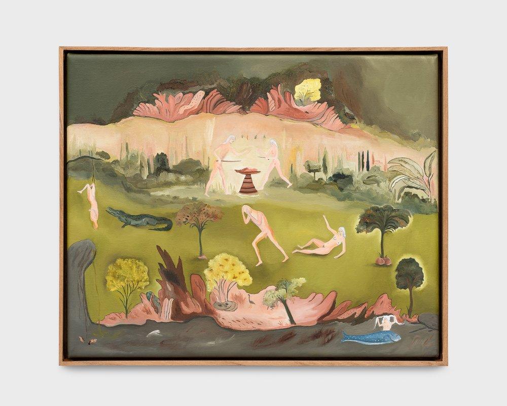 Sanam Khatibi Une bouche de corail, 2018 oil & pencil on canvas, framed 10 1/4 x 12 7/32 in (26 x 31 cm) Courtesy: Galerie Rodolphe Janssen, Brussels