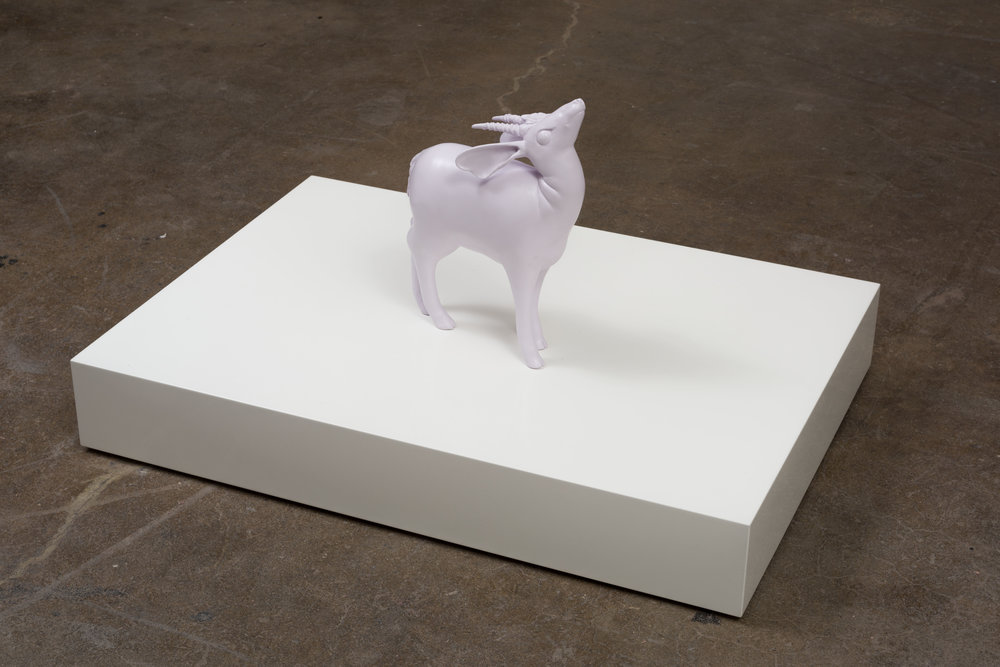 Tia Pulitzer   UPLIFT/ Lilac Antelope , 2017 fired clay, paint 23 1/4 x 55 x 36 in - 59,1 x 139,7 x 91,4 cm