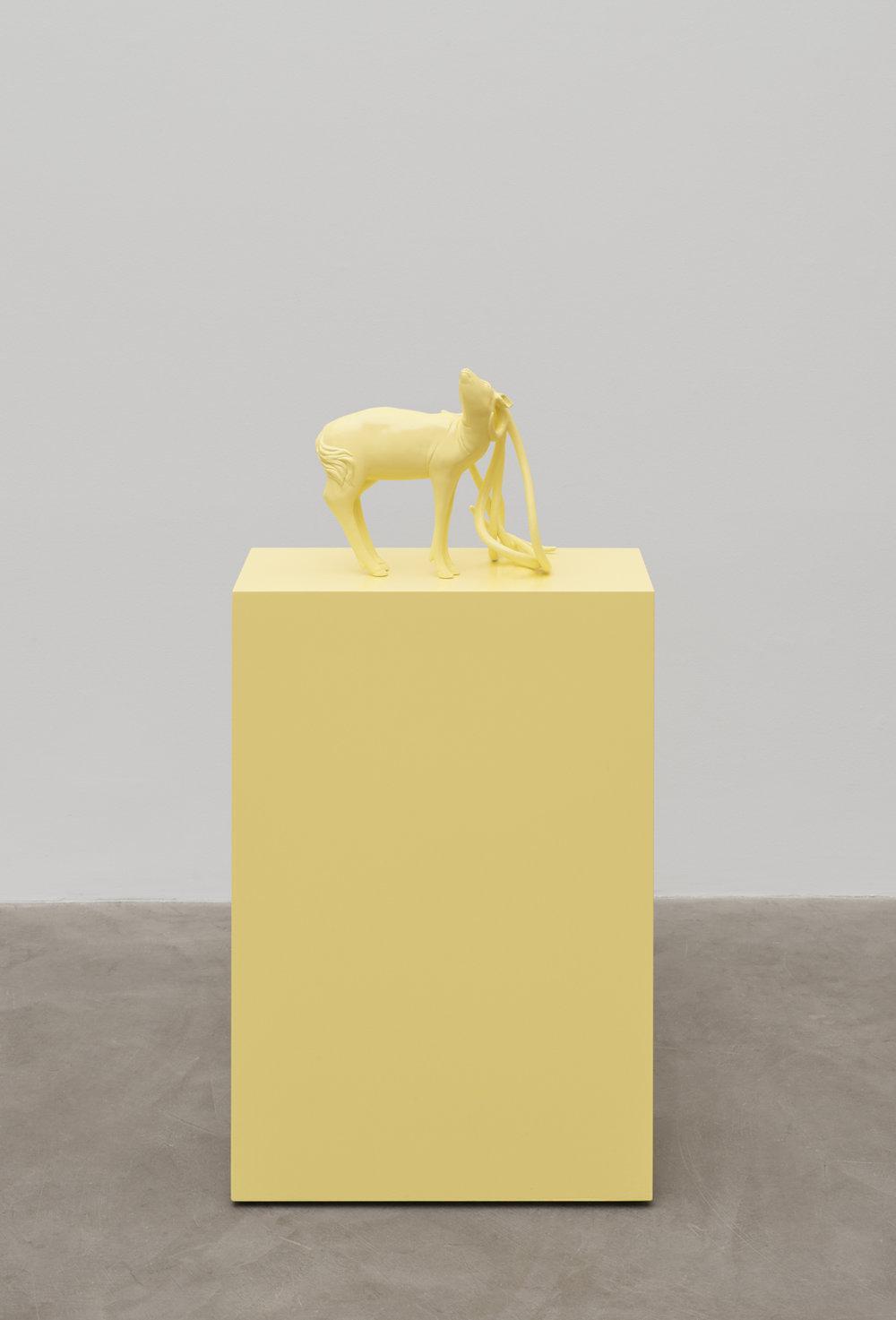 Tia Pulitzer   UPLIFT/ Solar Yellow Dear , 2018 fired clay, paint  44 3/8 x 36 x 21 1/2 in - 112,7 x 91,5 x 54,6 cm