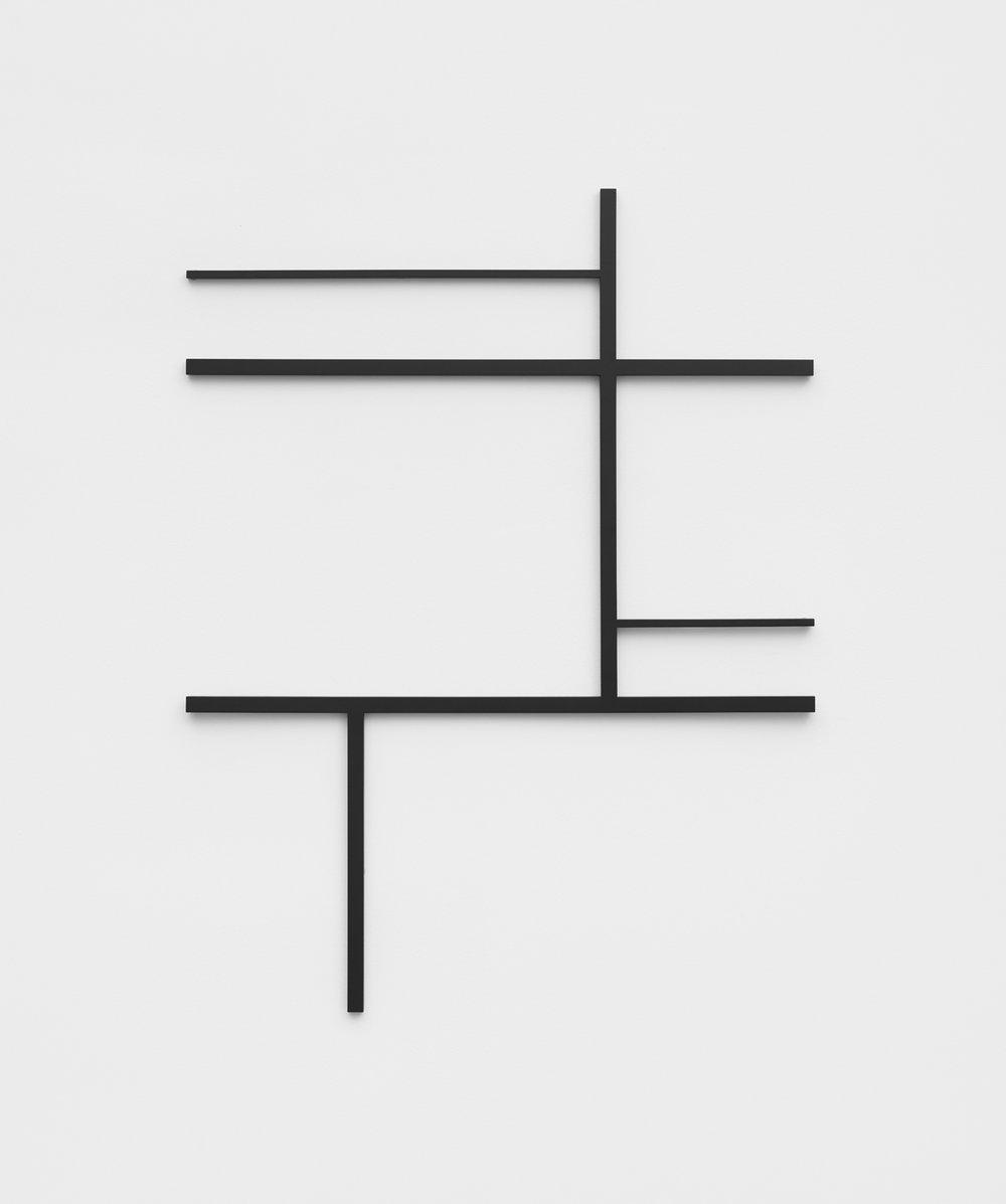 Philippe Decrauzat   Fragment after a sketch , 2018  steel, paint  75,7 x 99,2 cm - 29 7/8 x 39 in