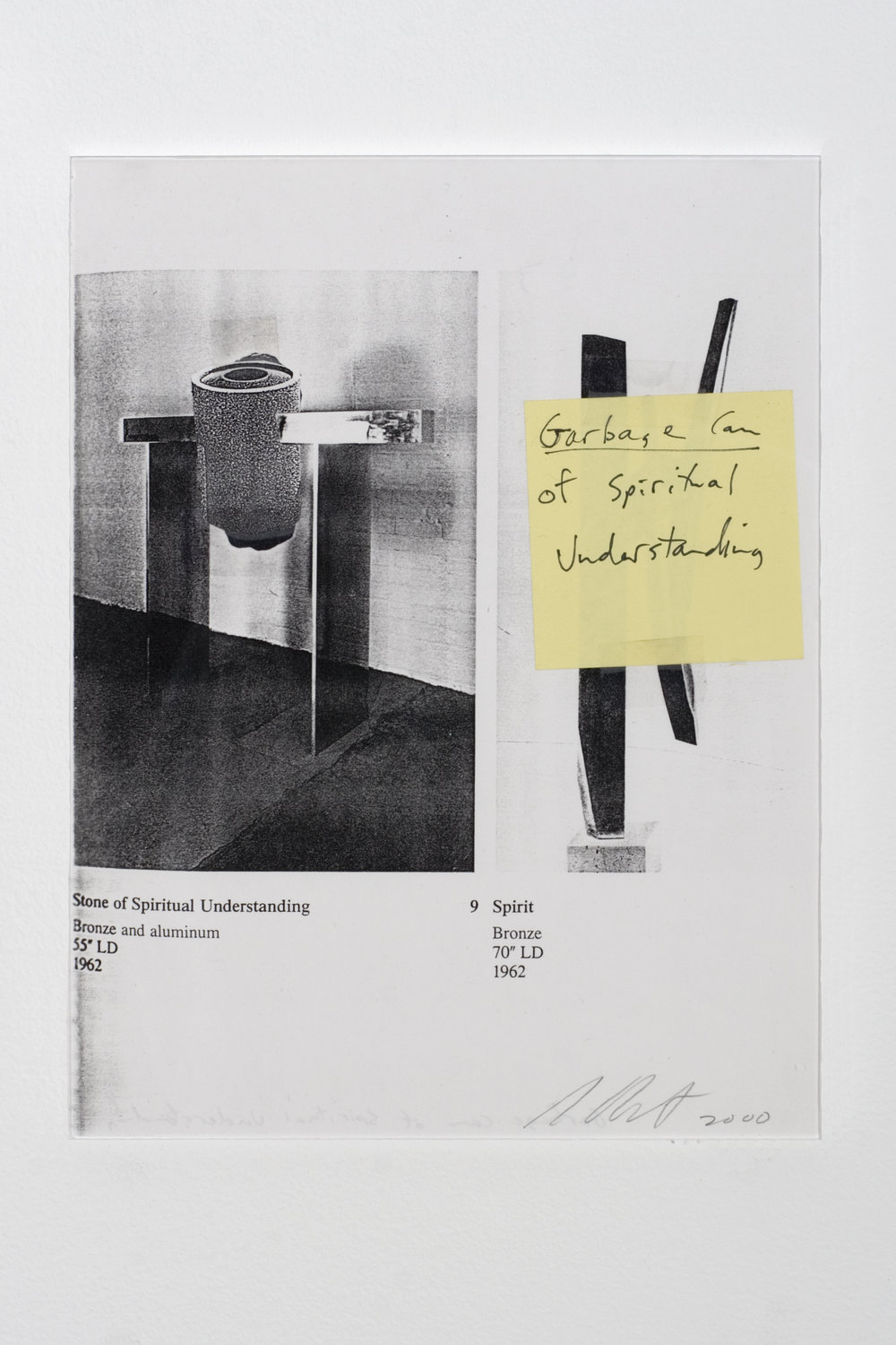 Garbage Can of Spiritual Understanding , 2000 collage and adhesive tape on photocopy 11 x 8 1/2 in - 27,94 x 21,59 cm