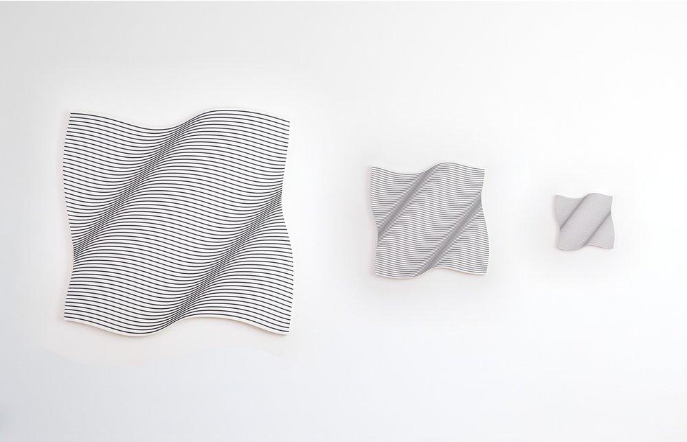 Aspect Ratio , 2015 acrylic on canvas, three parts 168 x 164 cm; 84 x 82 cm; 42 x 41 cm 66 1/8 x 64 5/8 in; 33 1/8 x 32 1/4 in; 16 1/2 x 16 1/8 in