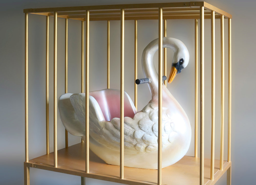 Pierre Ardouvin   Jamais je ne pleure et jamais je ne ris (And never do I weep and never do I laugh) , 2019 resin and painted metal, carousel object and golden cage 33 15/32 x 47 1/4 x 19 11/16 in (85 x 120 x 50 cm) PA19S4