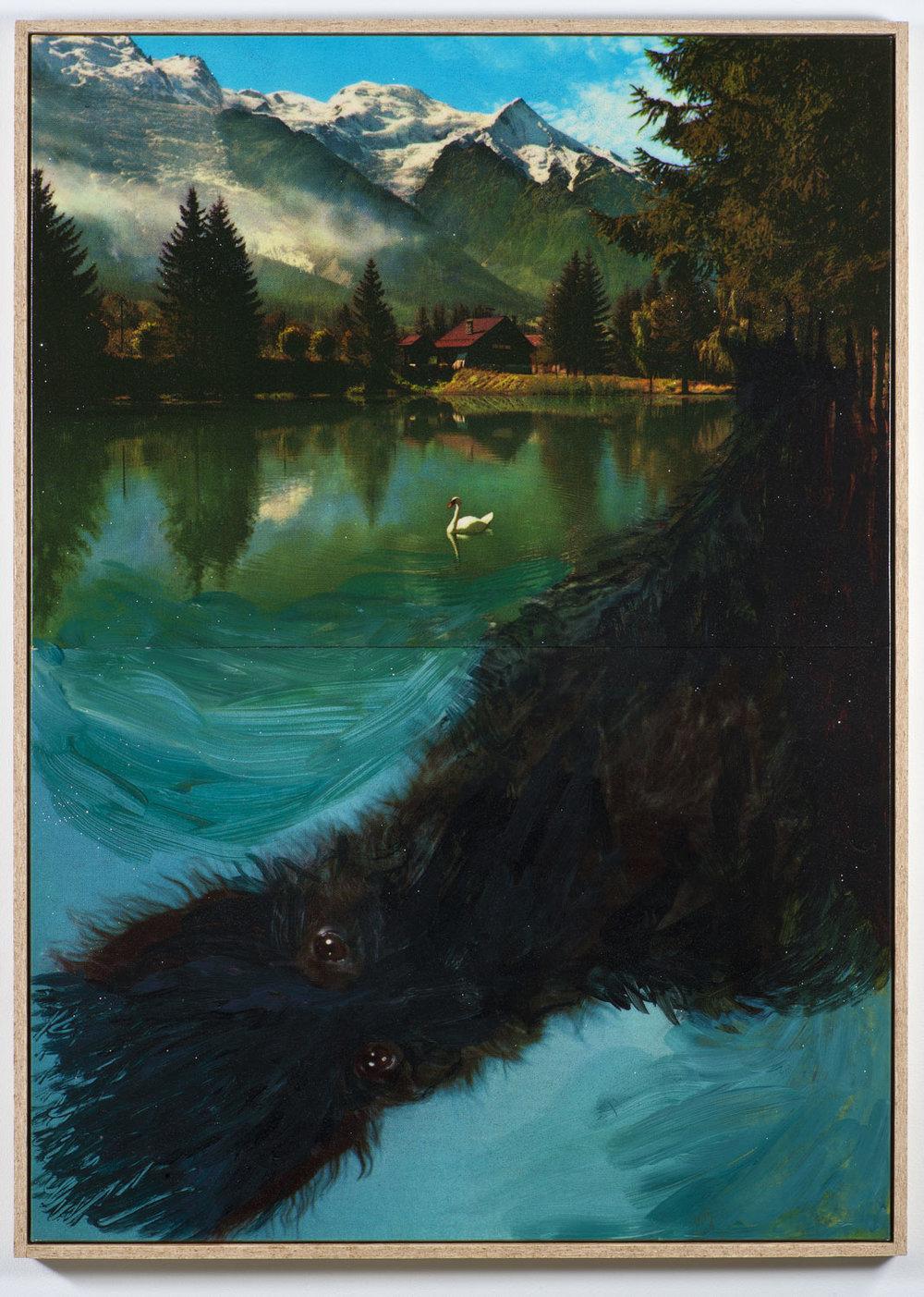 Pierre Ardouvin   Ecran de veille (Screensaver) , 2013 print on canvas, resin, glitter, chipboard framing  66 15/16 x 47 1/4 in (170 x 120 cm)  PA13P1