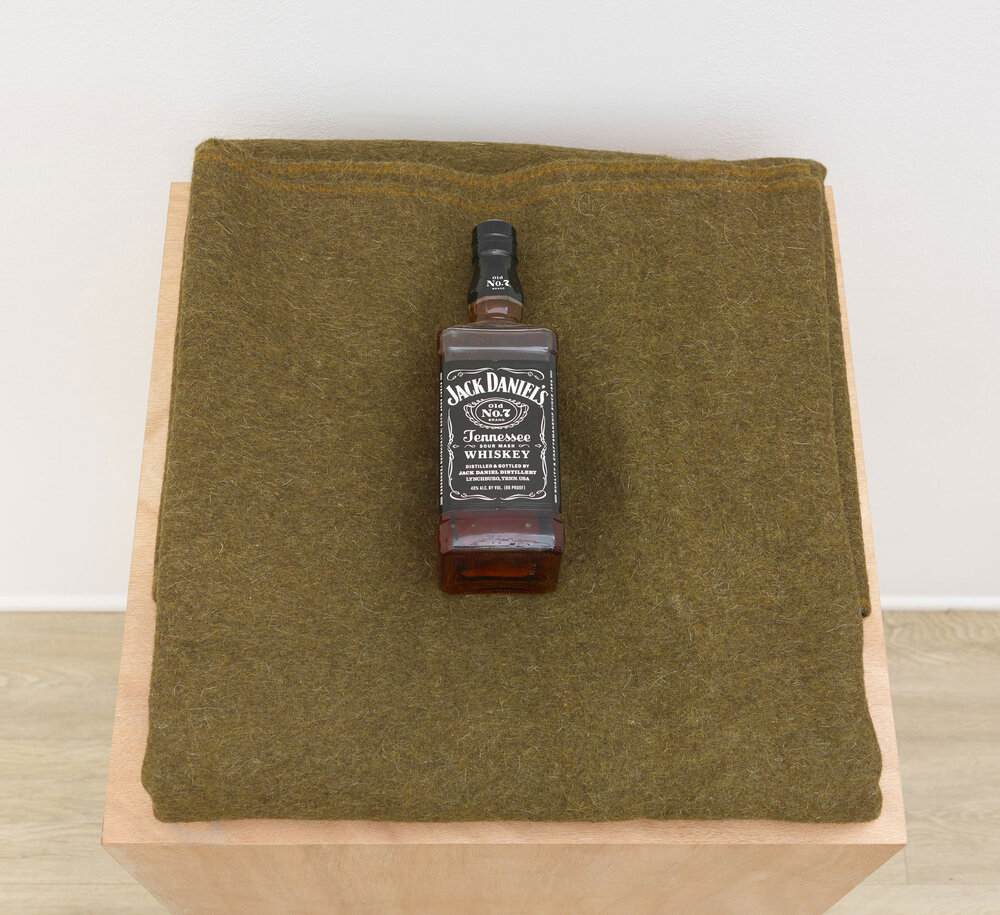 American Hospitality (biological), 2006 military surplus blanket, whiskey and pedestal variable dimensions