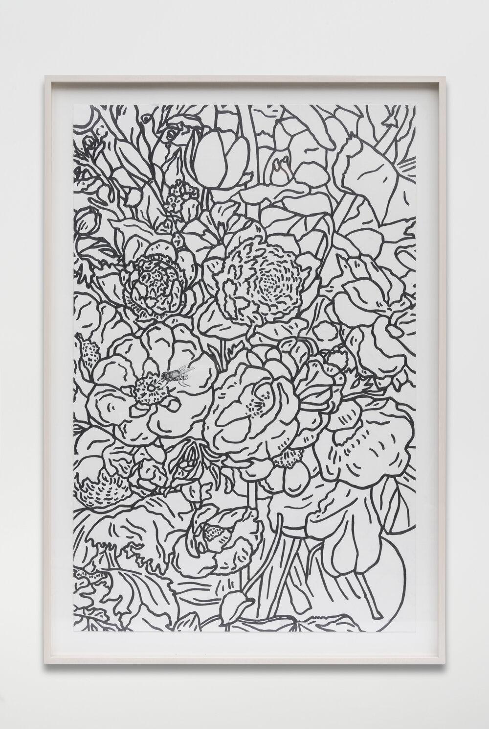 Bouquet (For Odilon), 2017 graphite on paper 120,7 x 82,5 x 5 cm - 47 1/2 x 32 1/2 x 2 inches