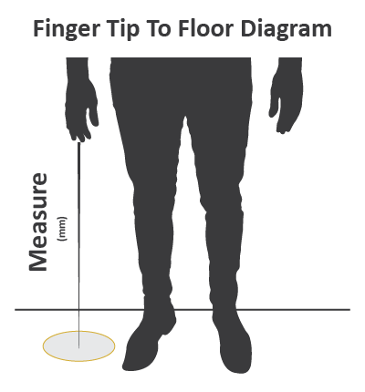 Measure from the top of the middle finger to the floor (inches).
