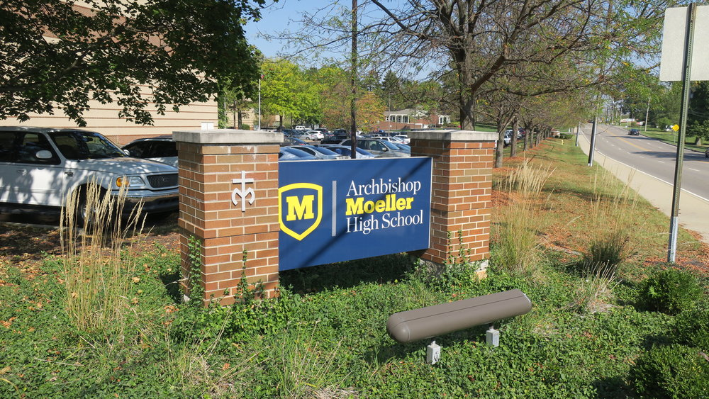 Archbishop Moeller High School sign facing Montgomery Road  Photo by: Nick Ujvagi