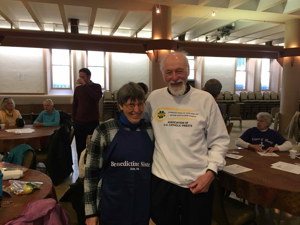 Father Bernard Survil, a founding member of the AUSCP from the Diocese of Greensburg, and a long-time activist for immigration and civil rights, stands with Sister Ann McCarthy of the Erie Benedictines, in preparation for the February 27 Catholic Day of Action in support of Dreamers. Both were arrested later that day.