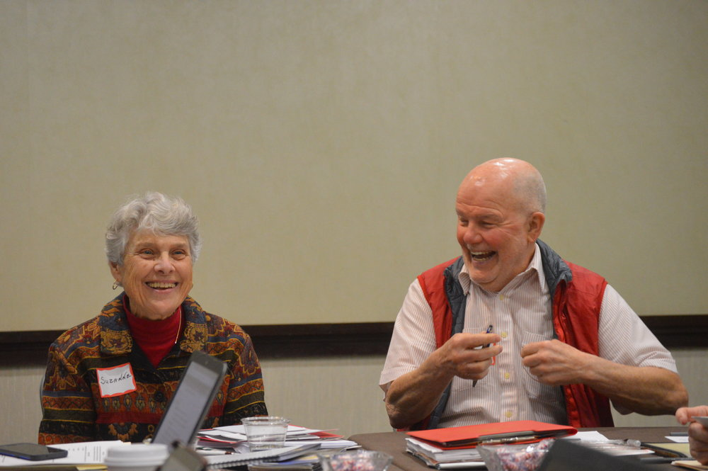 "Planning for Assembly - Sister Suzanne Giblin, CSJ, and Father Bernard Bob"" Bonnot enjoy a light moment during the planning retreat for the St. Louis Assembly. Sister Suzanne will help Assembly participants experience a contemplative dimension following keynote addresses."