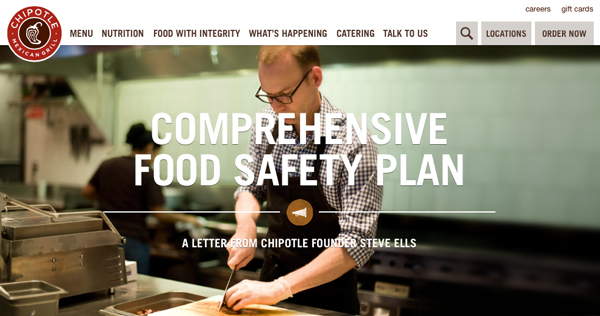 Chipotle and their food safety issues were at the heart of the brand experience when their supply chain failed and food poisoning cases were traced to Chipotle as the source earlier this year