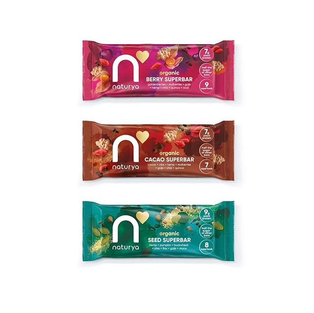 #Superfood #brand @Naturya is busting out of it's #health roots and hitting the aisles at @Ocado @Superdrug & @Tesco - read about how we updated their #visualidentity ⠀ ⠀ #newwork #brandupdate #healthfood #naturya #seedbars #chaiseeds #cacaonibs #gojiberries #quinoa #hemp #acai