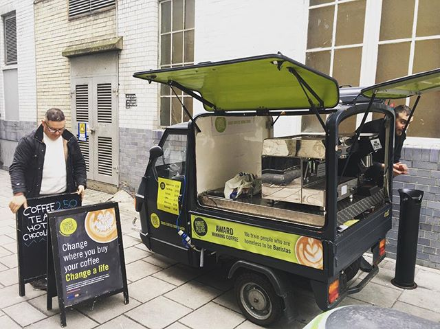 Setting up outside @MarketingWeekEd in #OxfordCircus to share @ChangePlease's #brand story ⠀ ⠀ #futureofcoffee