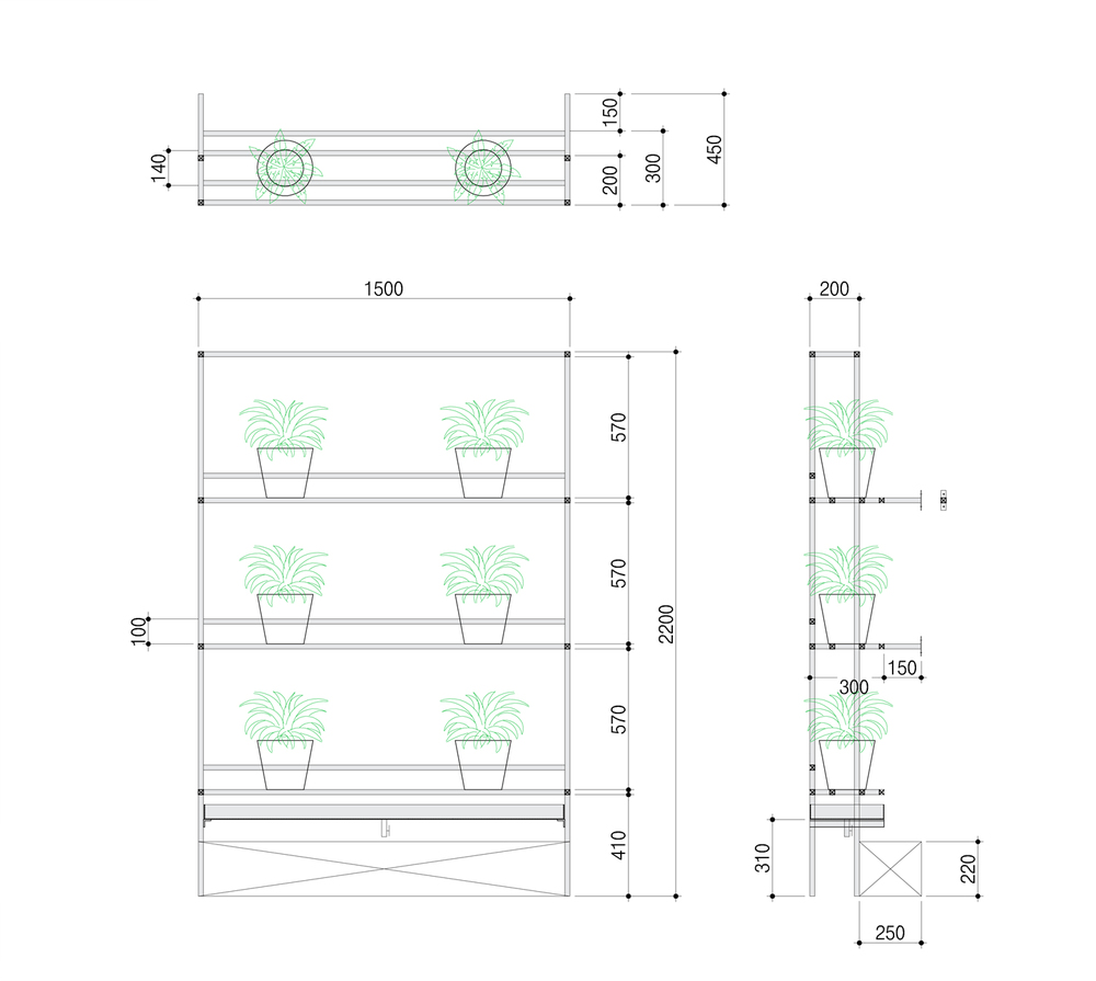Green Shelf Plan & Section