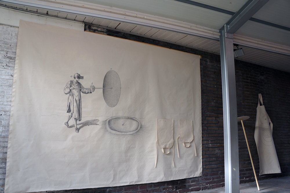 Diagram in Honour of Artist Substance I , pencil on canvas, 200 x 270 cm, pencil on canvas prop, pencil on canvas apron