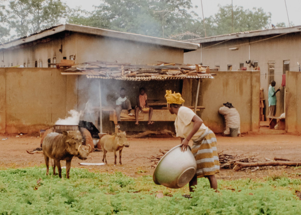 Villagers outside Mole National Park  |  Photo by Caroline Taft, The Brazen Gourmand