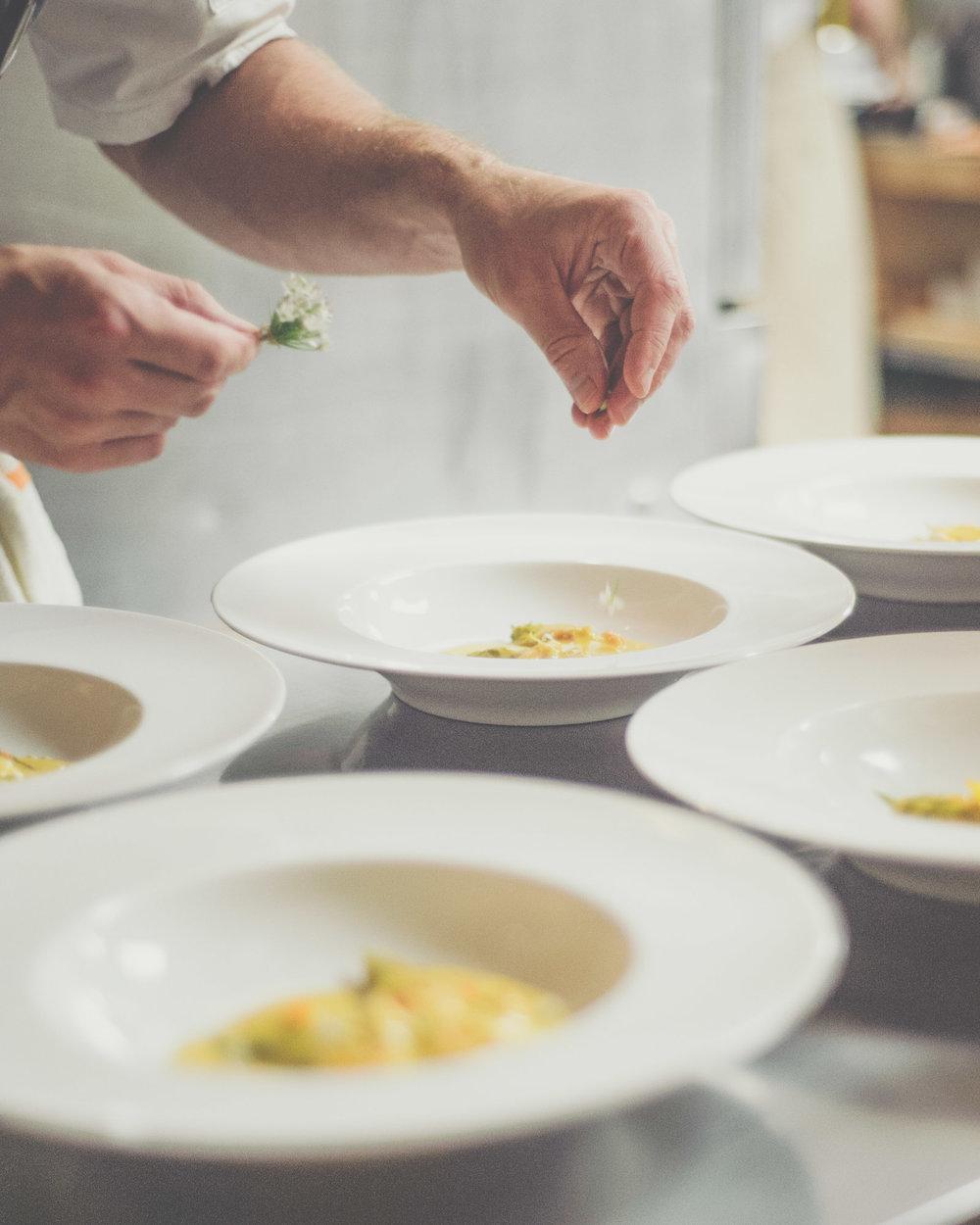 Plating Chicken, Crab and Uni | Truffle, Uni Sabayon, Squash Blossom