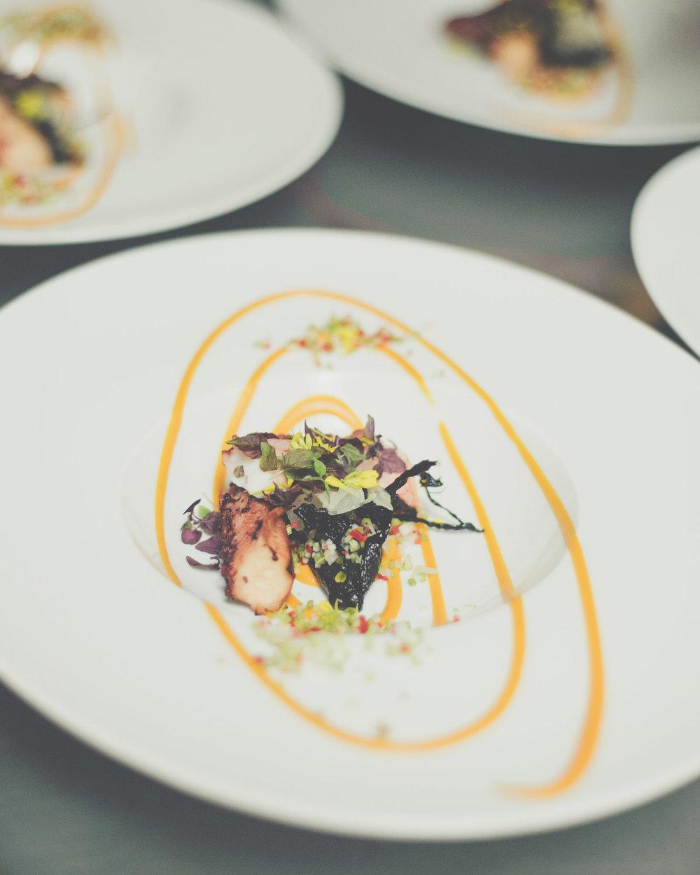 Spanish Octopus | Edwards Ham Consommé, Black Trumpet Mushroom, Clams, Kohlrabi