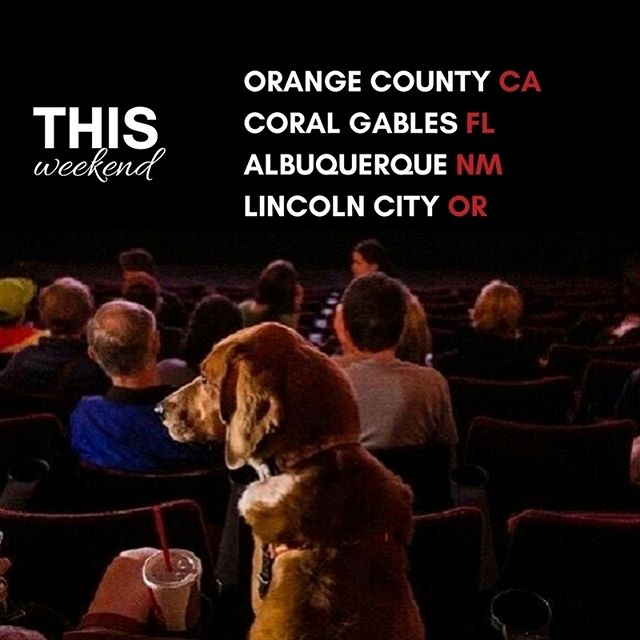 We're gearing up for a busy weekend with shows in CA, OR, NM and FL with dogs welcome at all four (small dogs only in FL). Click the link in our profile for more information and to purchase tickets.  #dogfilmfestival #dogsofCA #dogsofcalifornia #rescuedogsofca #dogsoffl #dogsofflorida #rescuedogsoffl #dogsofnm #dogsofnewmexico#rescuedogsofnm #dogsofor #dogsoforegon #rescuedogsofor