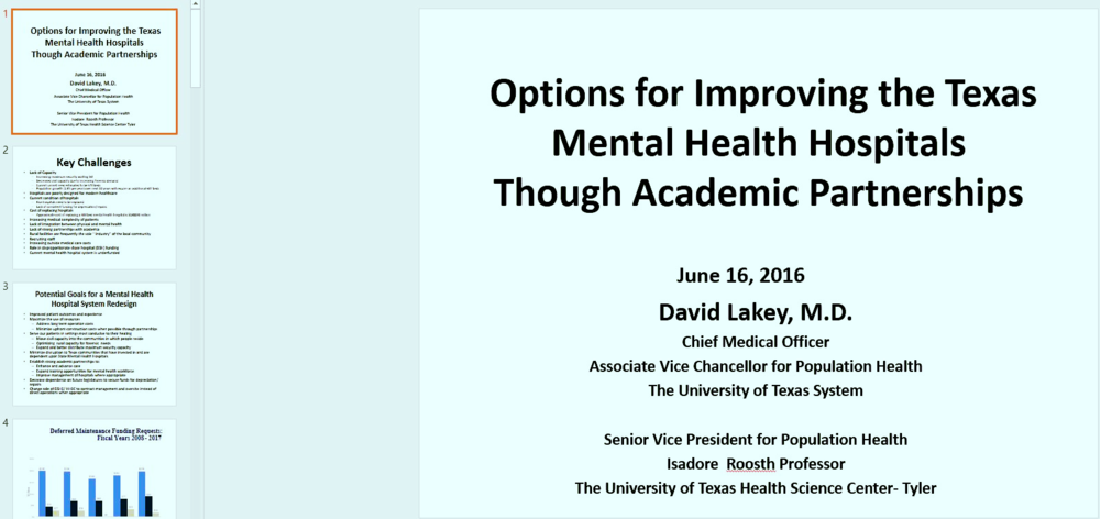 Click to download David Lakey's Presentation to the Senate Committee .