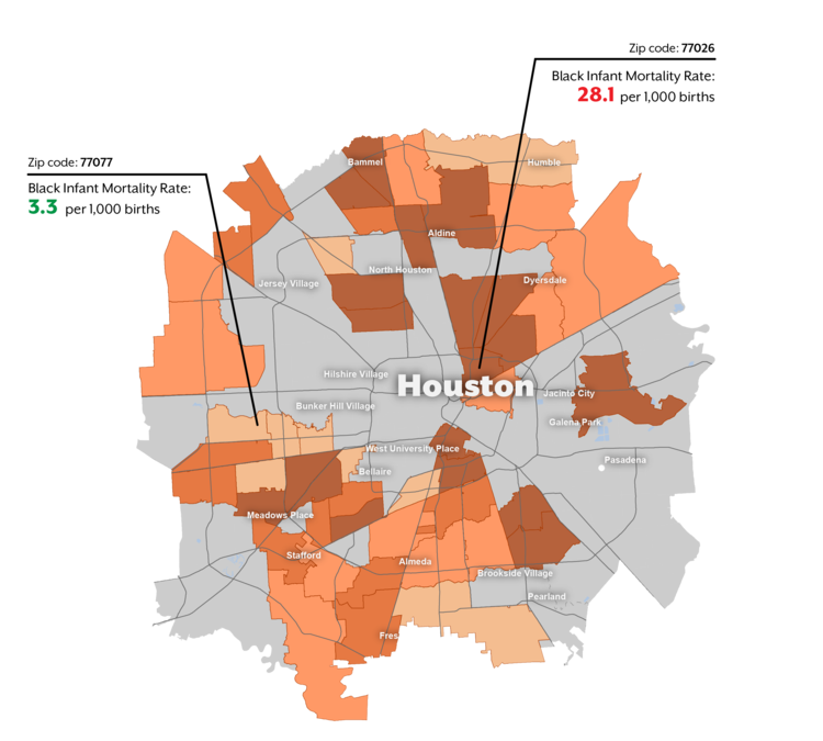 Black Infant Mortality Rate by Zip Code in Houston