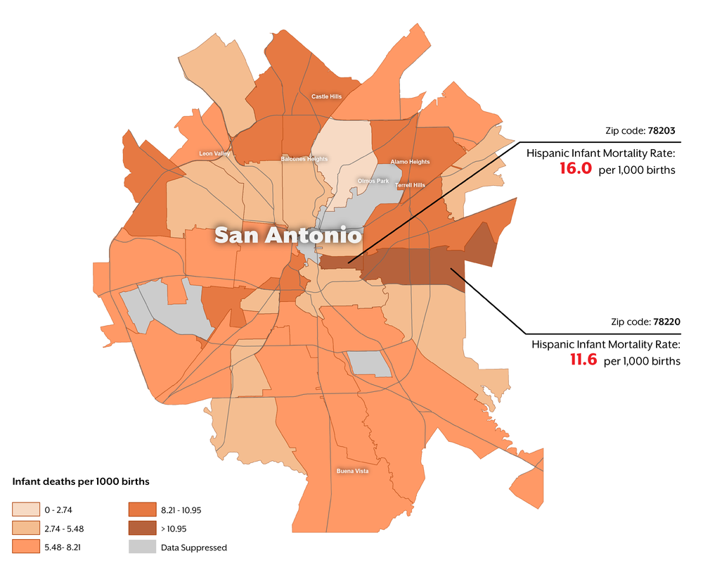 Map of San antonio IMR rate by zipcode