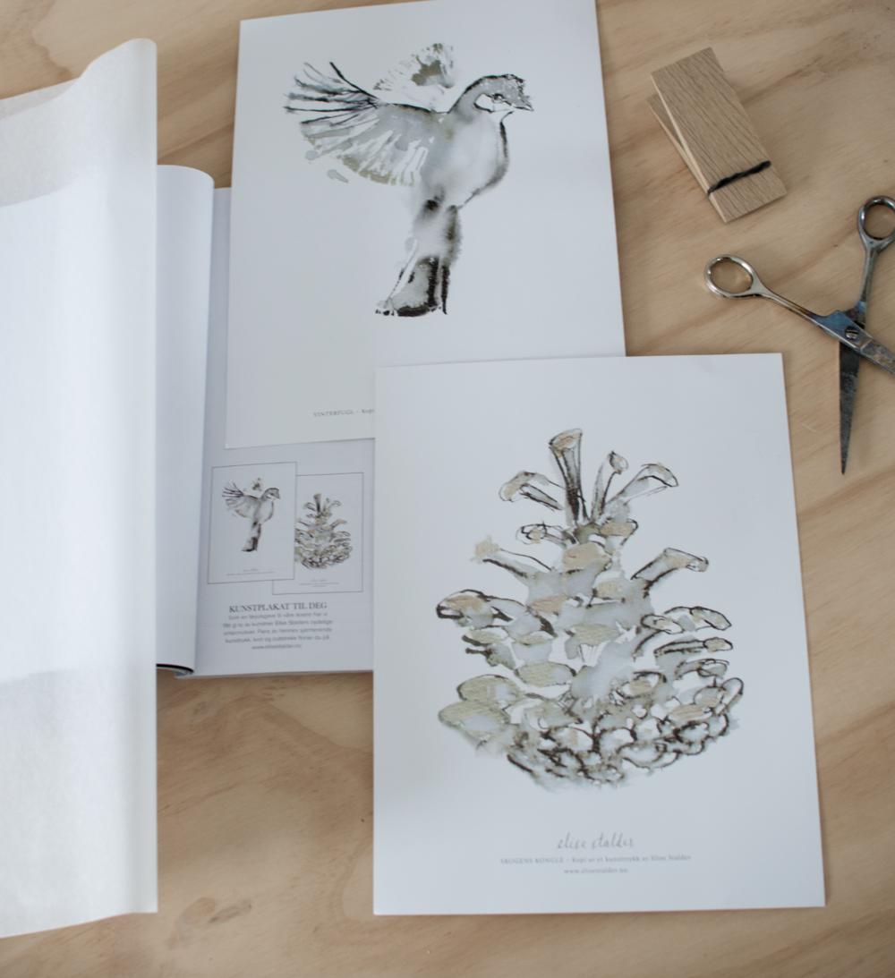 Julegave i Lev Landlig. Små kunstplakater fulgte med i desemberutgaven av magasinet.