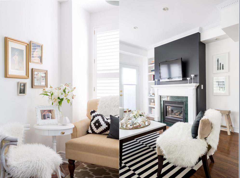 white walls black fireplace