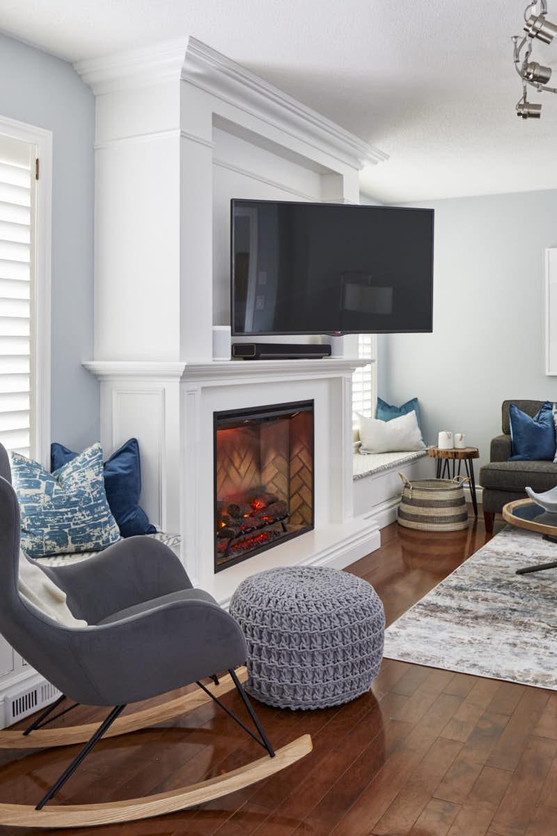 TV on a swivel, fireplace unit