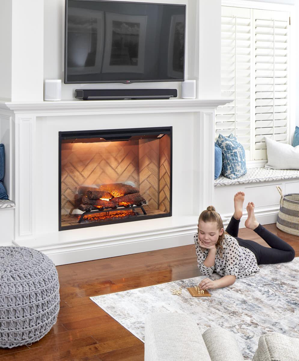 sound bar above fireplace