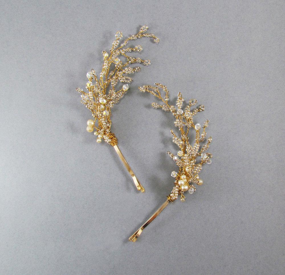 Luna Crystal & Pearl Hairpins