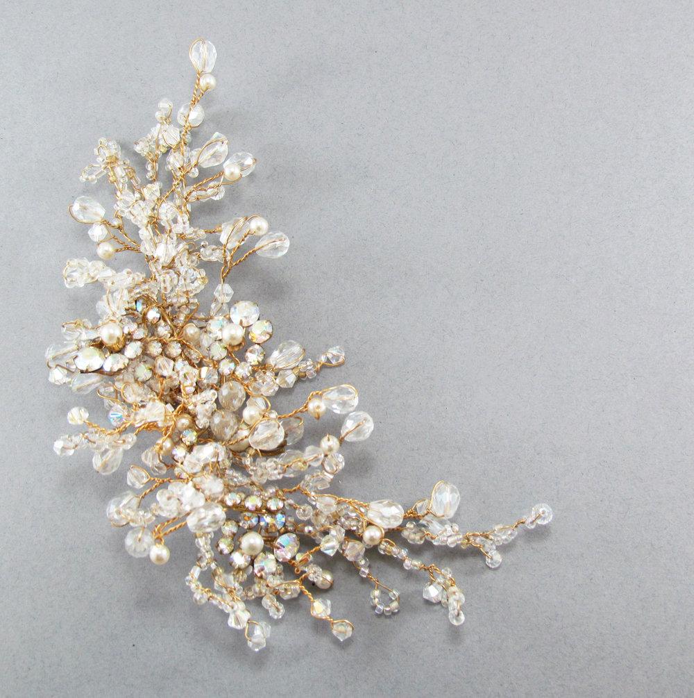 Dahlia Crystal & Pearl Comb