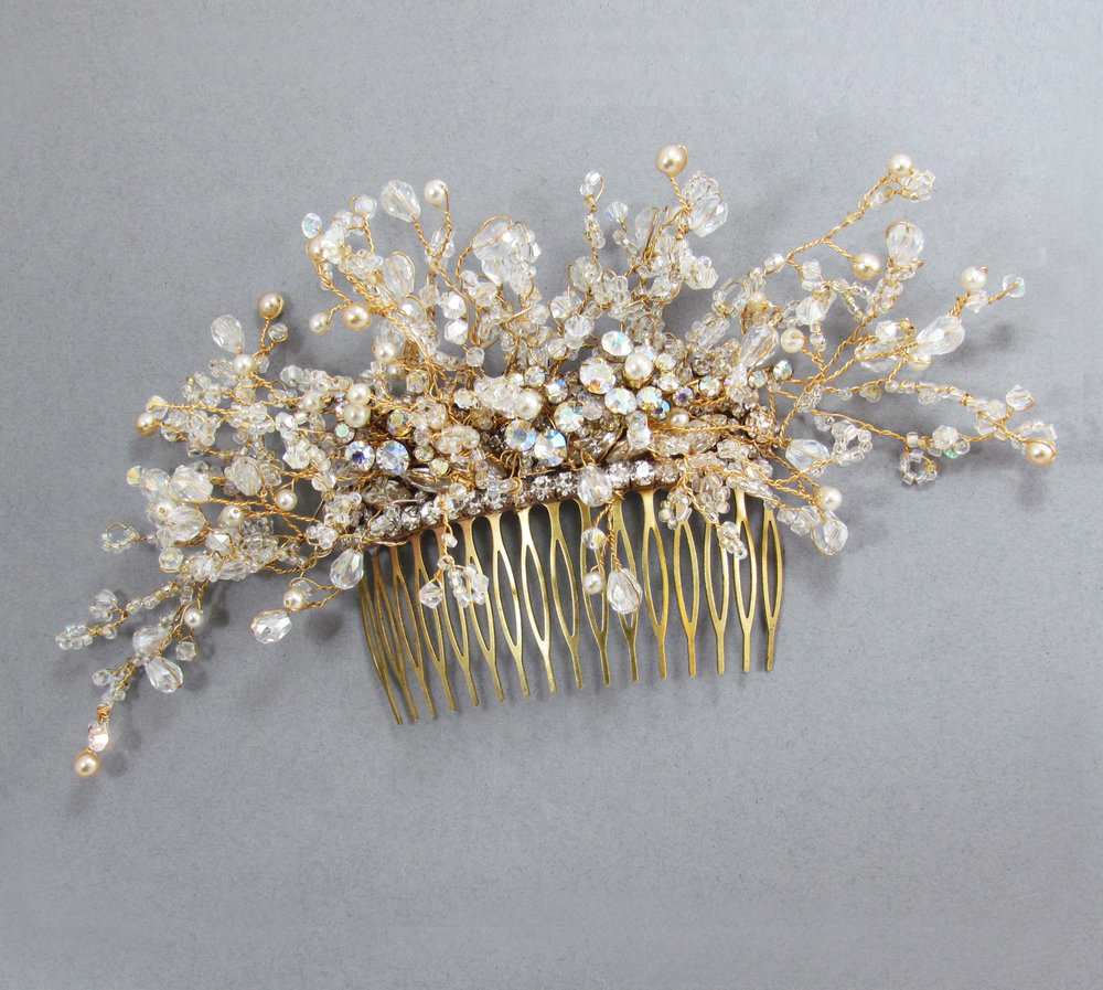 Ebony Crystal & Pearl Comb
