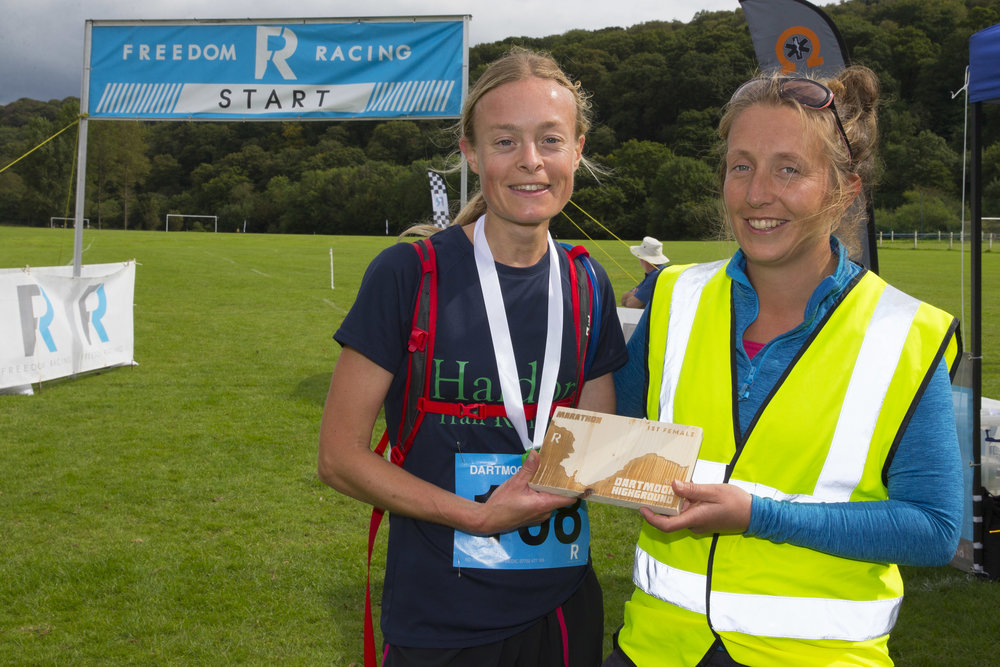 Female winner of the Dartmoor Marathon