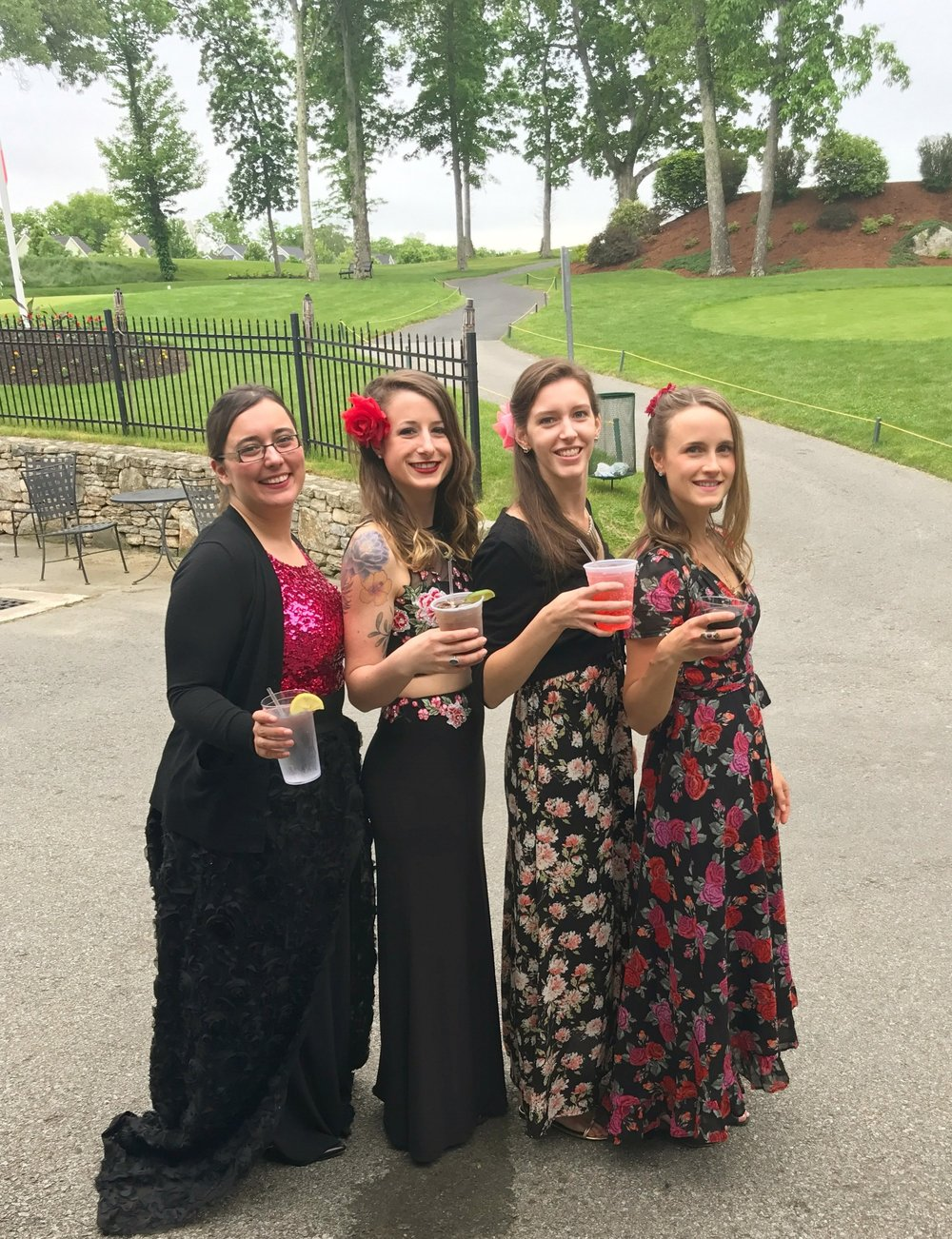 The ladies of the BVQ enjoy a celebratory drink after their debut concert on Sunday, June 4th! From left to right: Sylvia DiCrescentis (viola), Brittany Stockwell (2nd violin), Jamie Thiesing (cello), and Kathryn Haddad (1st violin).