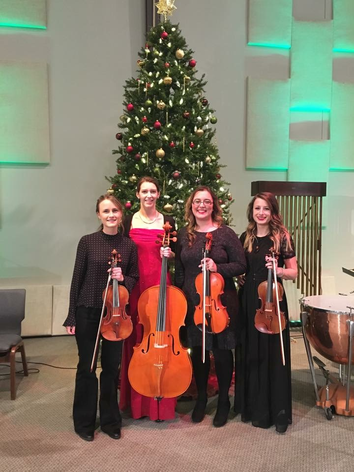 After our performance at the Whitinsville Christian School Christmas Concert at Valley Chapel in Uxbridge with our current cellist Jamie Thiesing! L-R: Kathryn Haddad, Jamie Thiesing, Sylvia DiCrescentis, Brittany Stockwell.