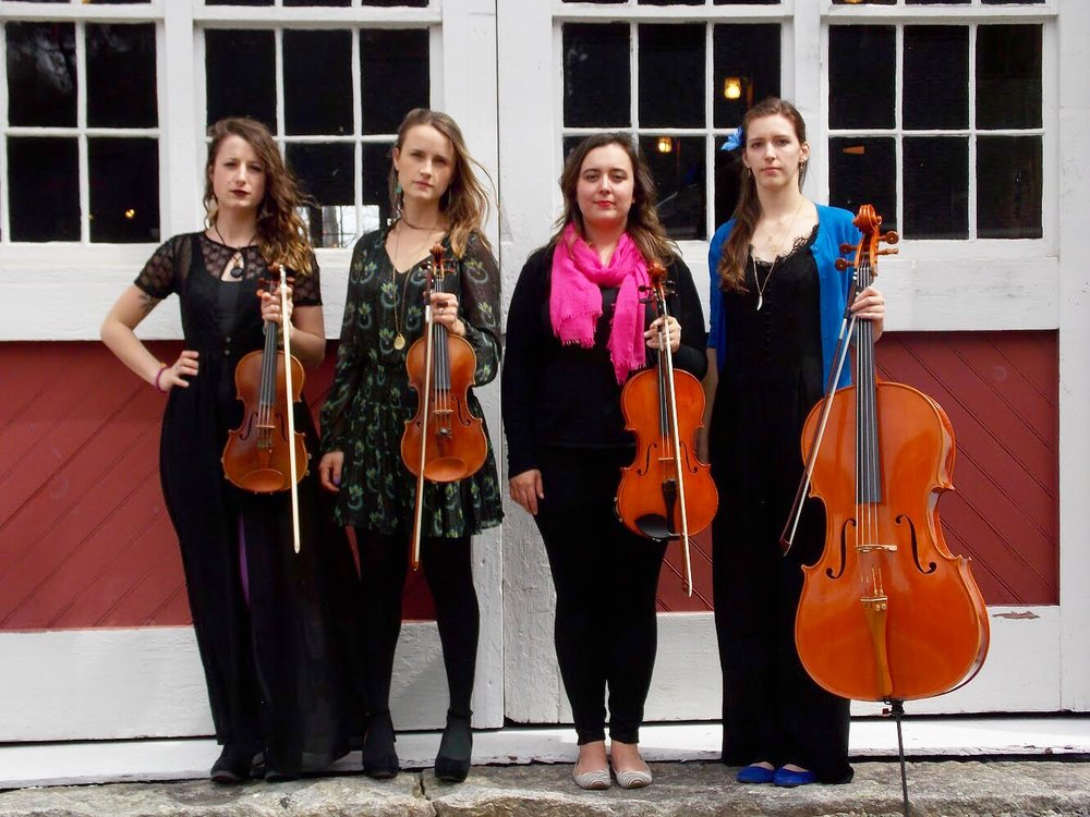 Our first photo shoot with Jamie as our cellist! L-R: Brittany Stockwell, Kathryn Haddad, Sylvia DiCrescentis, Jamie Thiesing.
