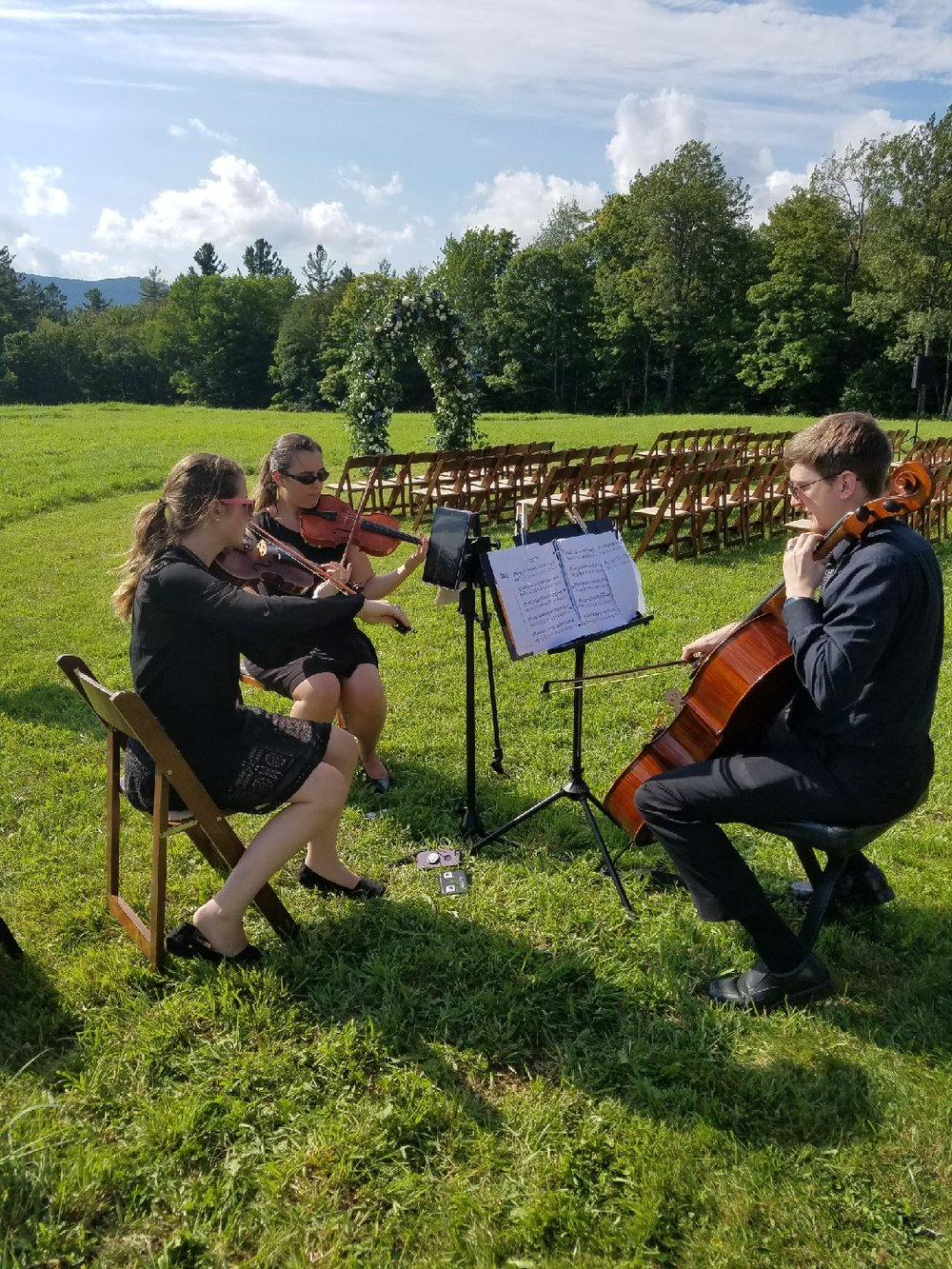 Our summer was full of gigs! Wedding ceremony in Vermont with one of our ensemble members, cellist Ben Thayer. L-R: Brittany Stockwell, Sylvia DiCrescentis, Ben Thayer.