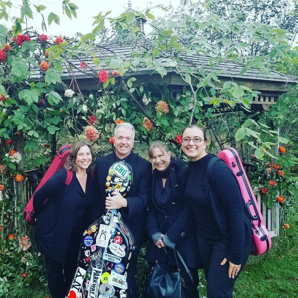 After playing a wedding ceremony in Vermont with ensemble members Susan Kirchhausen, Will Hayes, and Lynne Canavan. BVQ violist Sylvia DiCrescentis on far right.