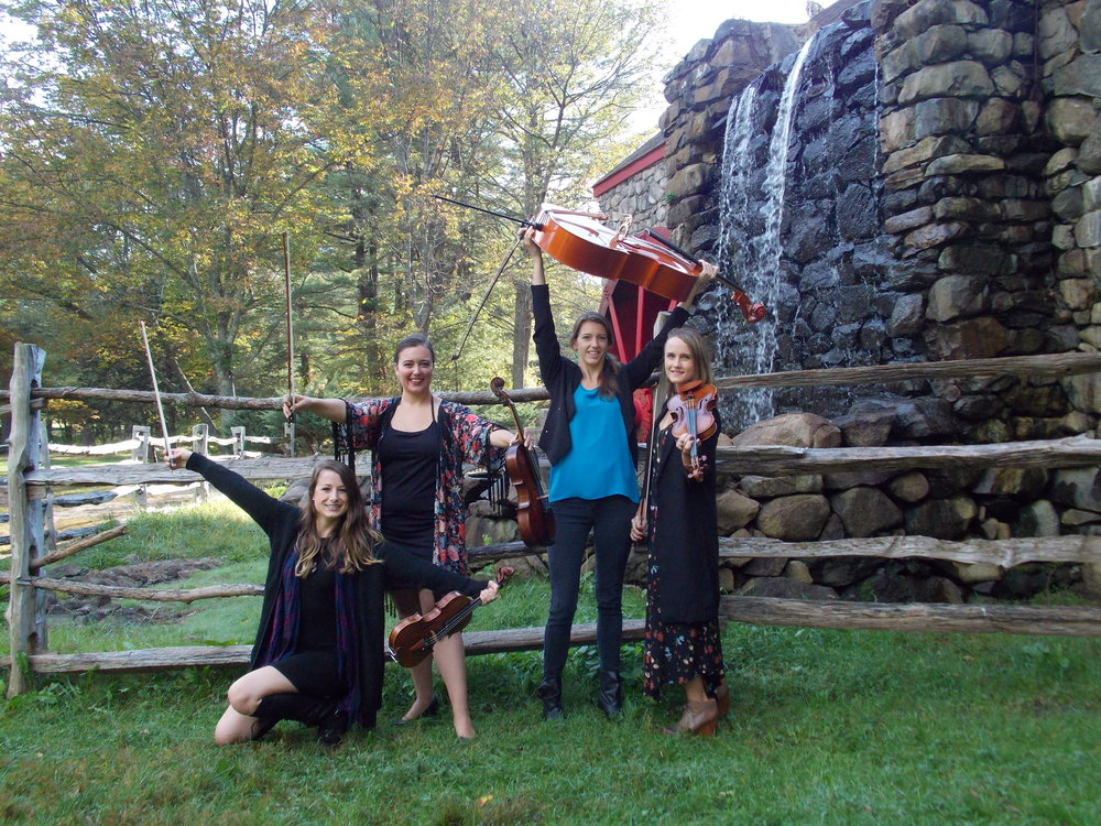 Our most recent photo shoot at the Grist Mill at the Wayside Inn in Sudbury. L-R: Brittany Stockwell, Sylvia DiCrescentis, Jamie Thiesing, Kathryn Haddad.