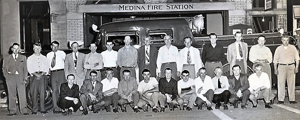 Volunteer Fire Department; Front Row, Frank Feckley, Pete Hanshue, Marion Wagner, Frank Harmon, Jim Gorfido, Ralph Schlechty, Angie Gorfido, Cloyd Arbogast, Melvin Shirey, Lloyd Hanshue, Howard Lahr -Standing, Dudley Bagley, Jay Mantz, Robert Standen, Louis Westland, Harold Roshon, Richard Meyers, Thurston Berry, Fred Hazen, Calvin Papp, Otis Cronk, Jack Post, Horace Williams, Dwight Ribelin , Chief E.C. Hammerschmidt